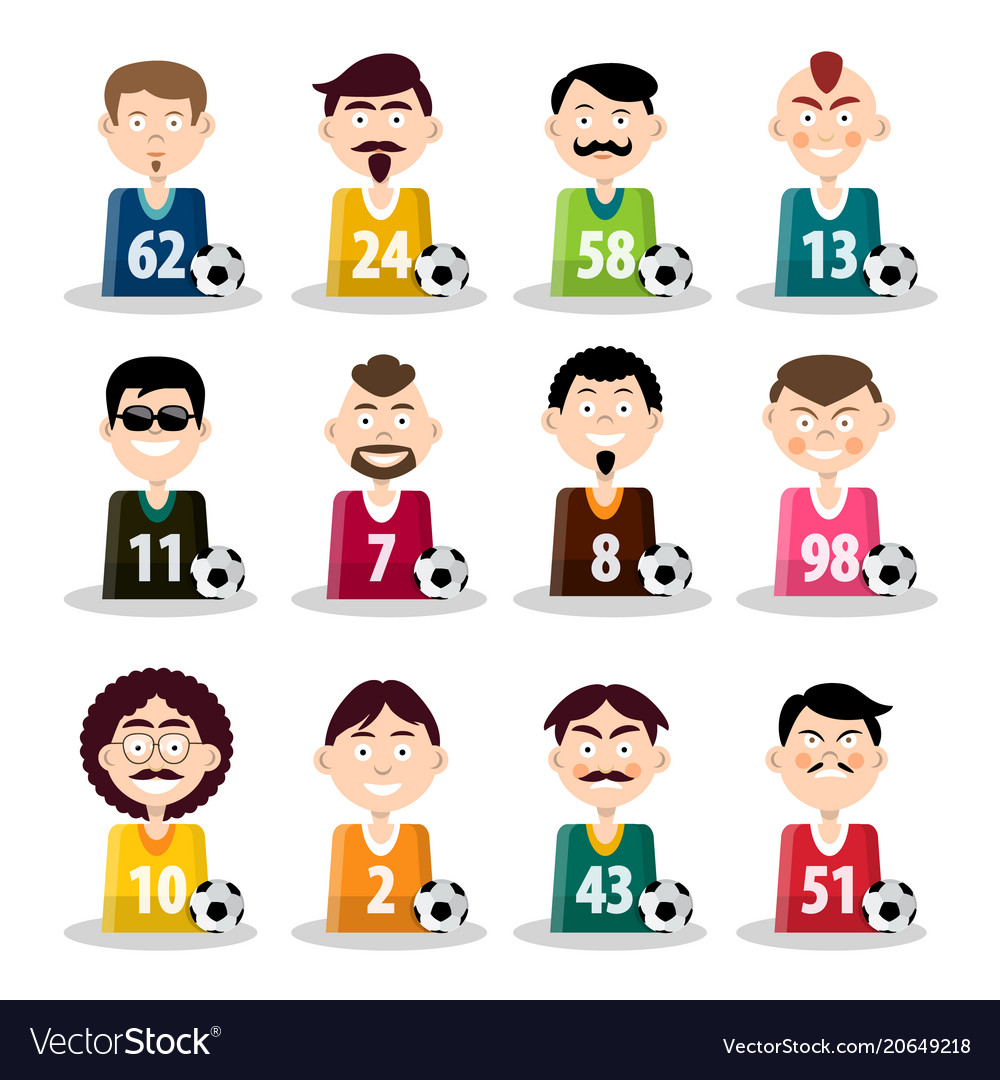 Football team soccer players icons isolated on