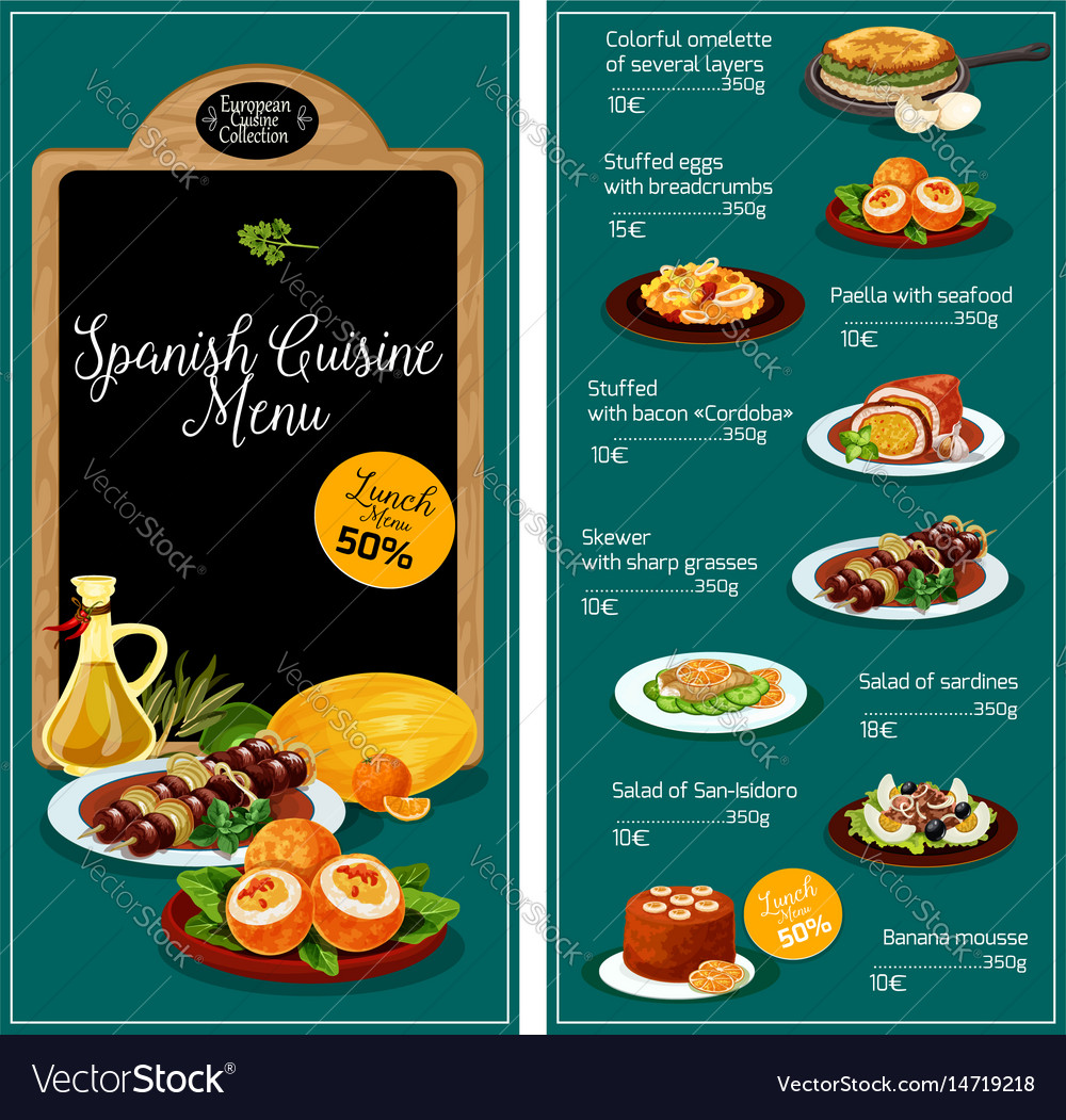 Menu for spanish cuisine restaurant