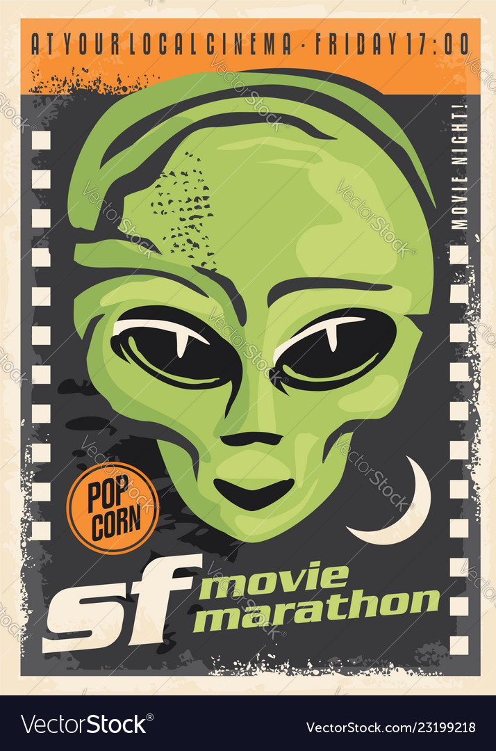 Science fiction movie night retro poster design
