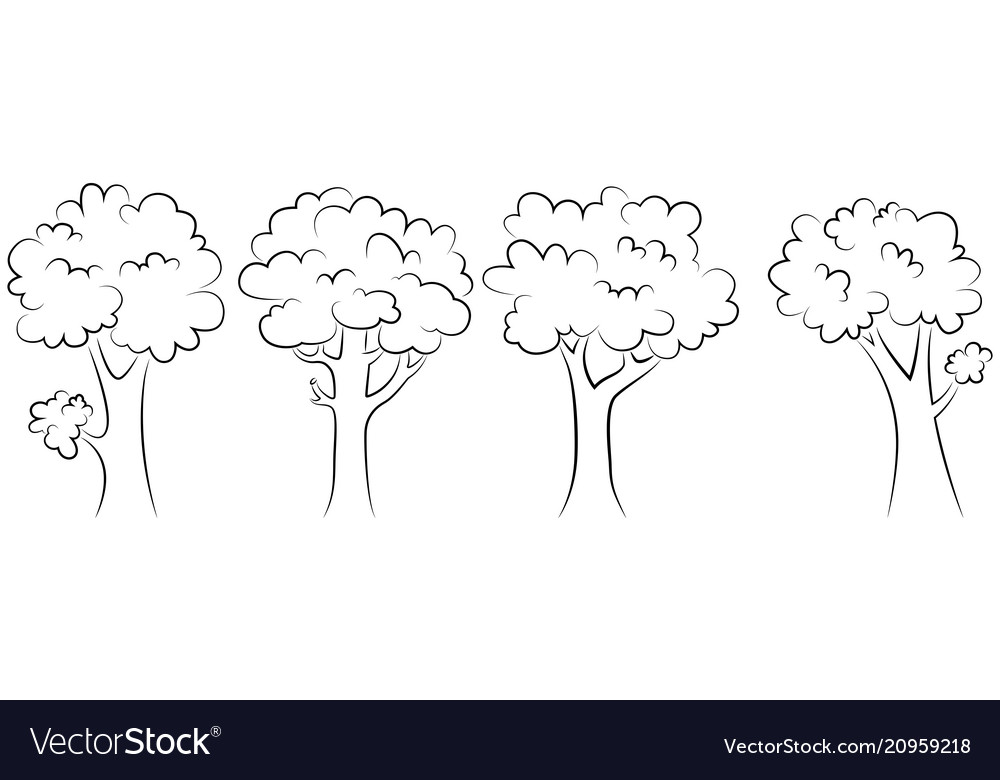 Set of trees outline on a white background