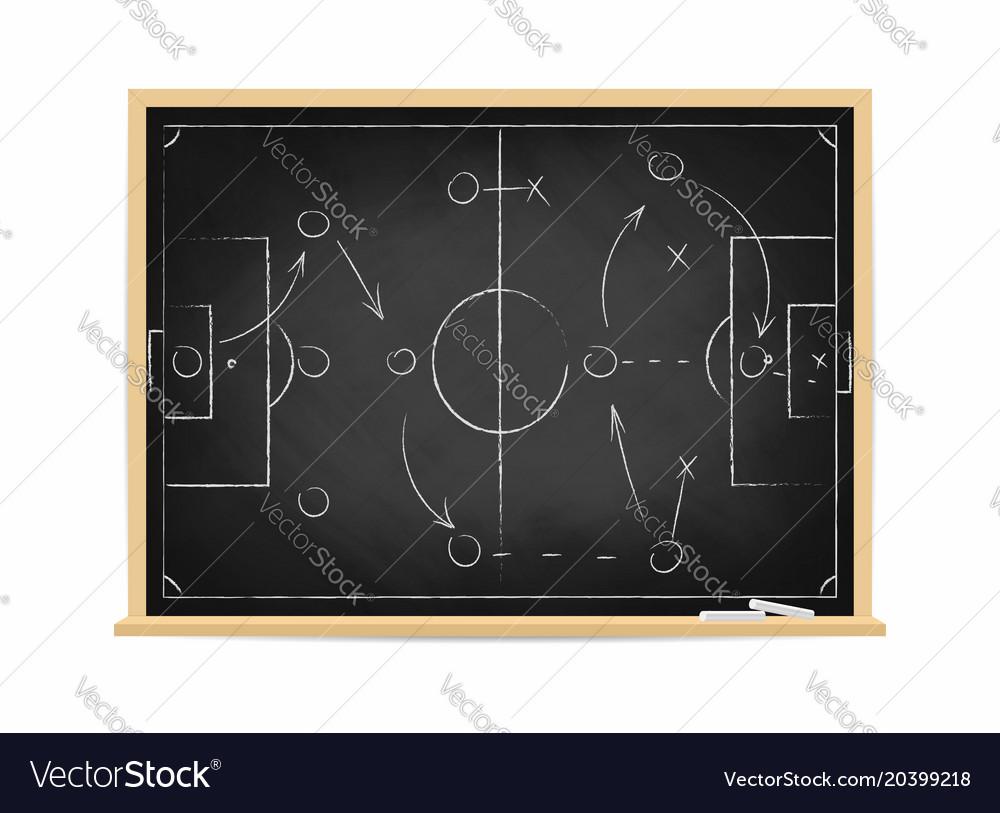 Soccer tactic scheme on chalkboard football team