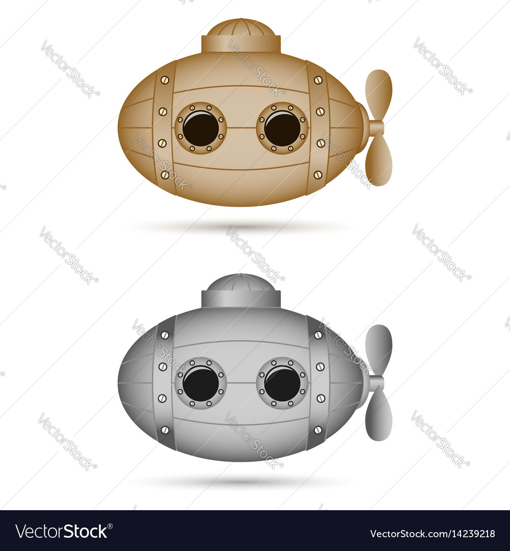 Steampunk submarines vintage elements for banners