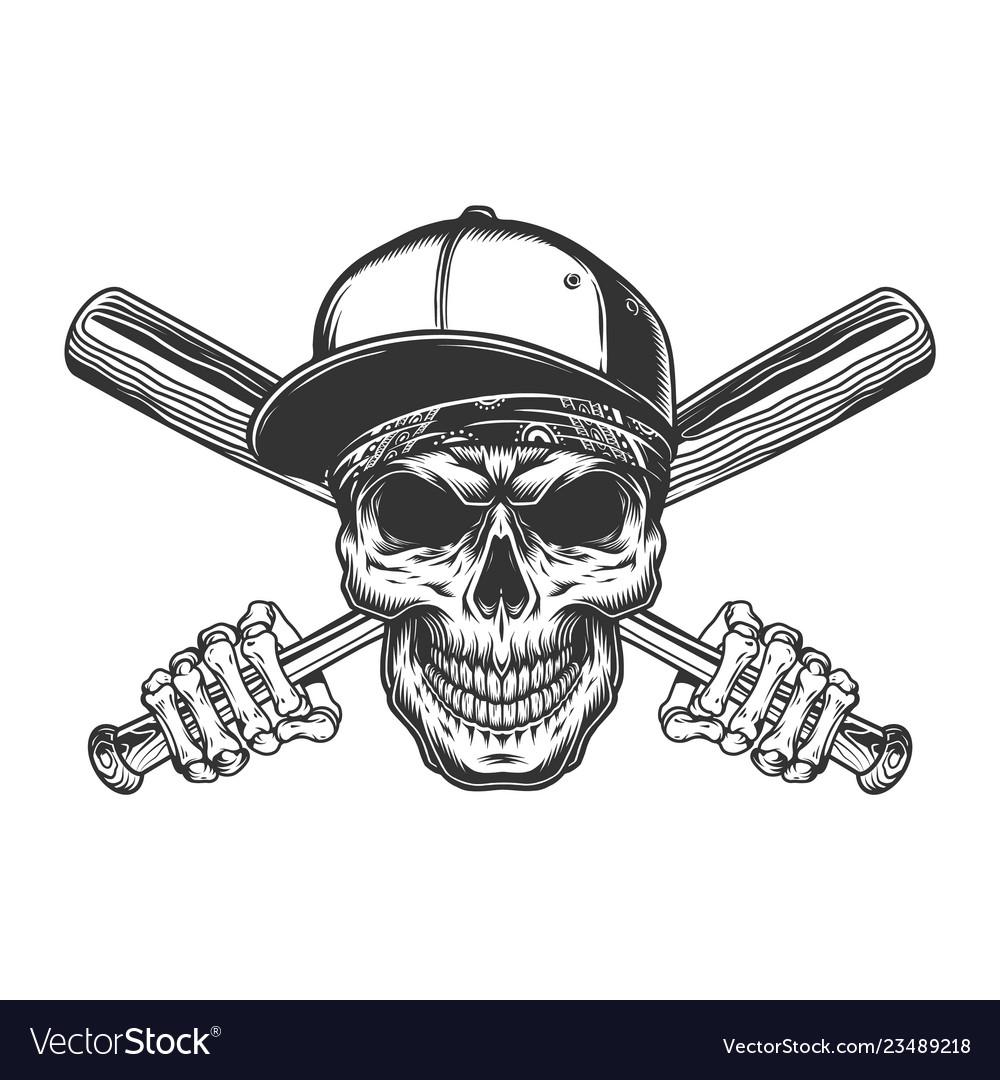 Vintage gangster skull in baseball cap