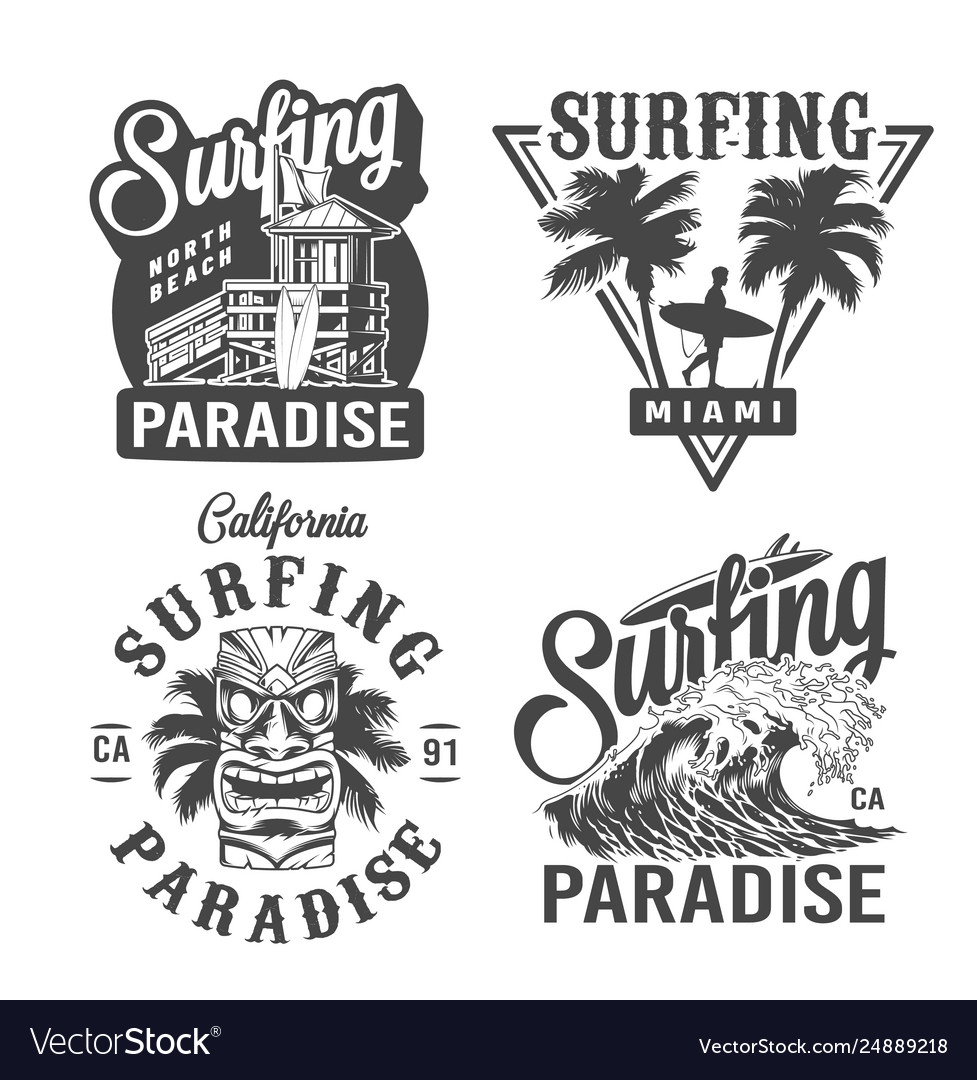 Vintage surfing time prints