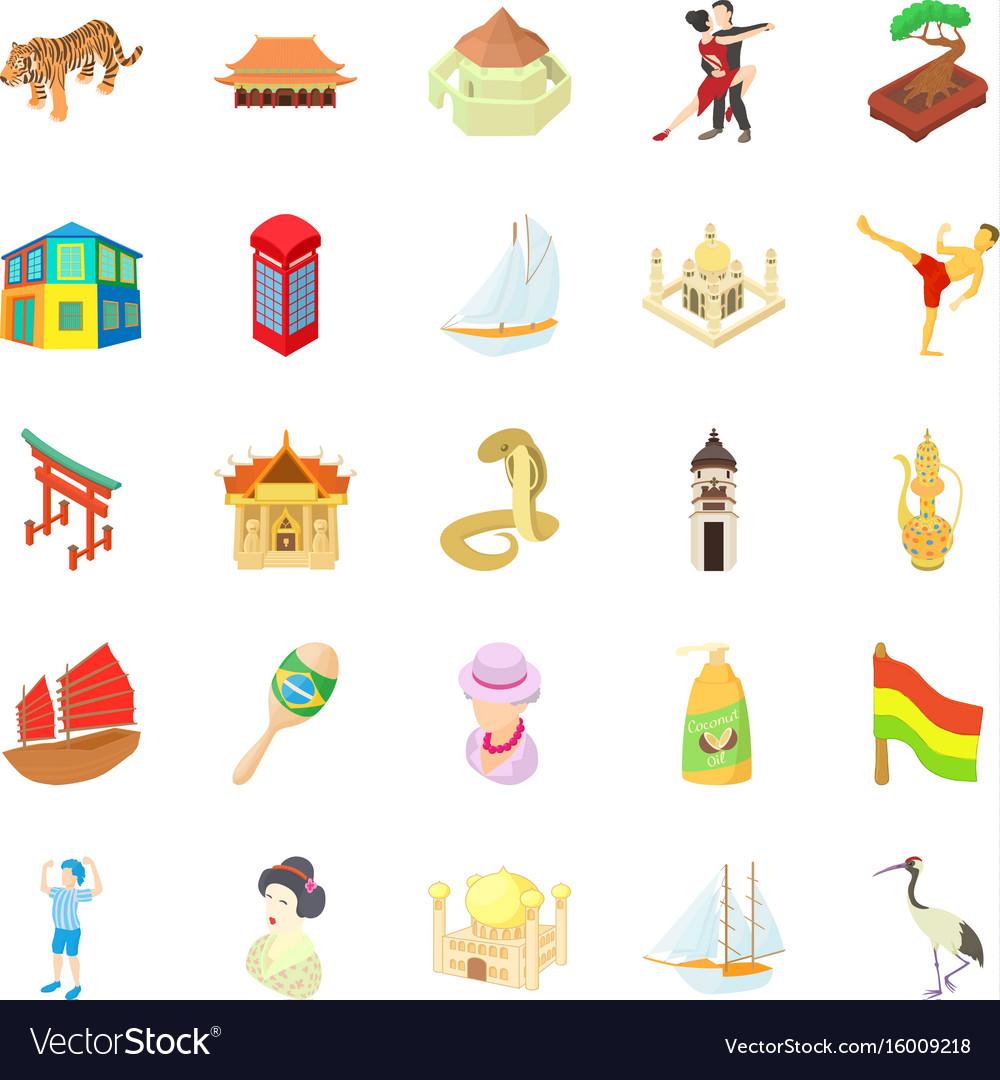 World travel icons set cartoon style