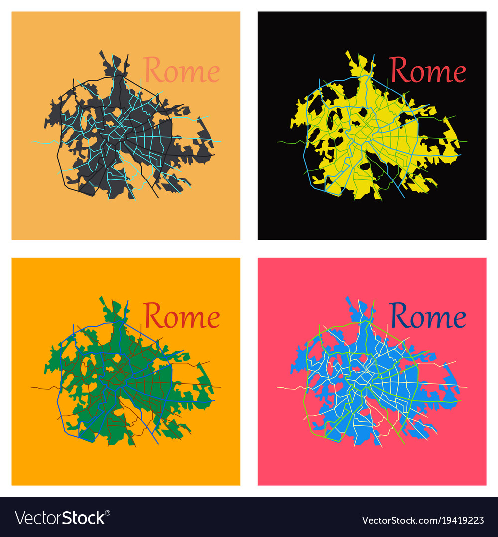 Flat city map of rome with well organized Vector Image