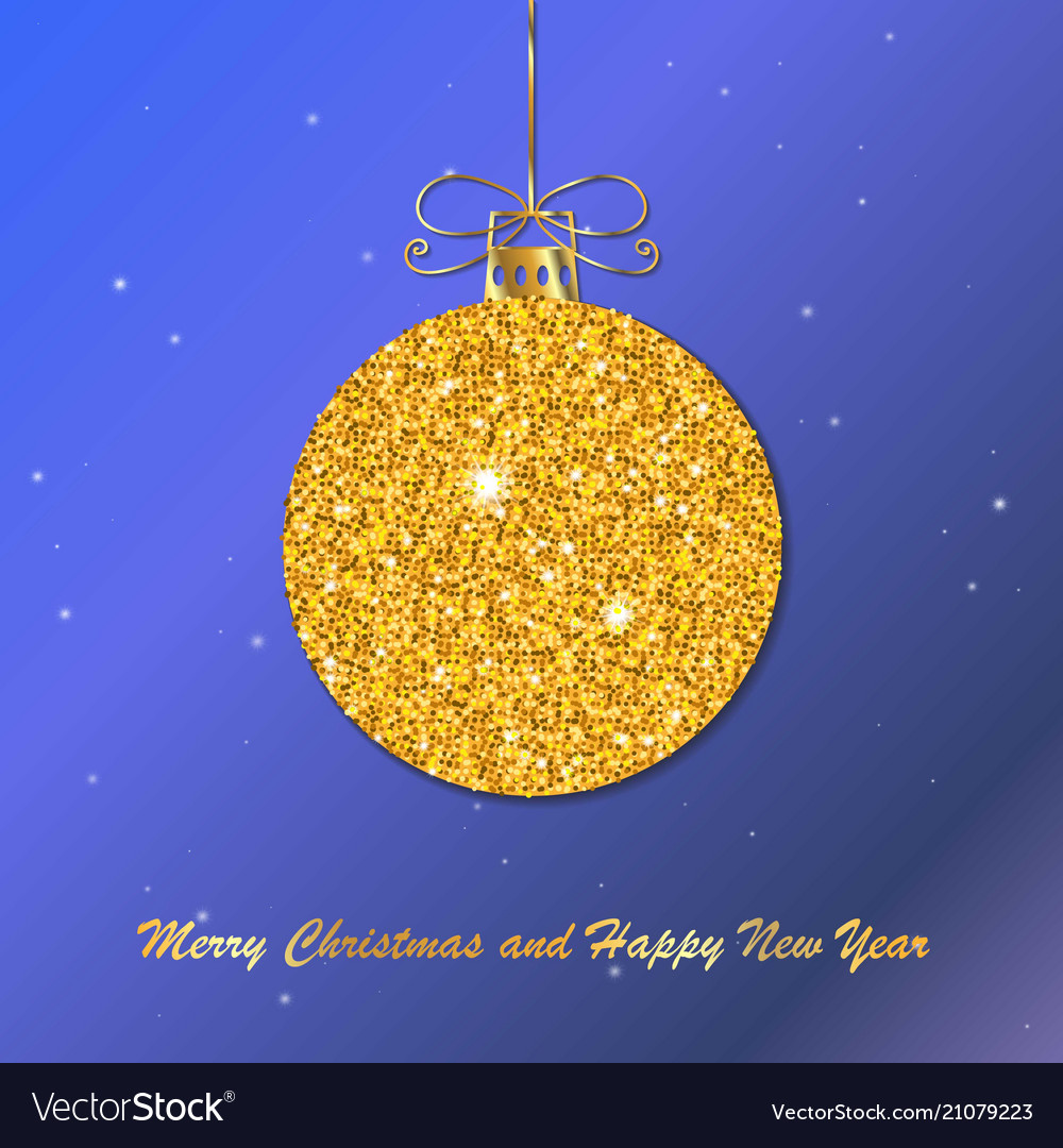 Gold christmas ball with line bow holiday christm
