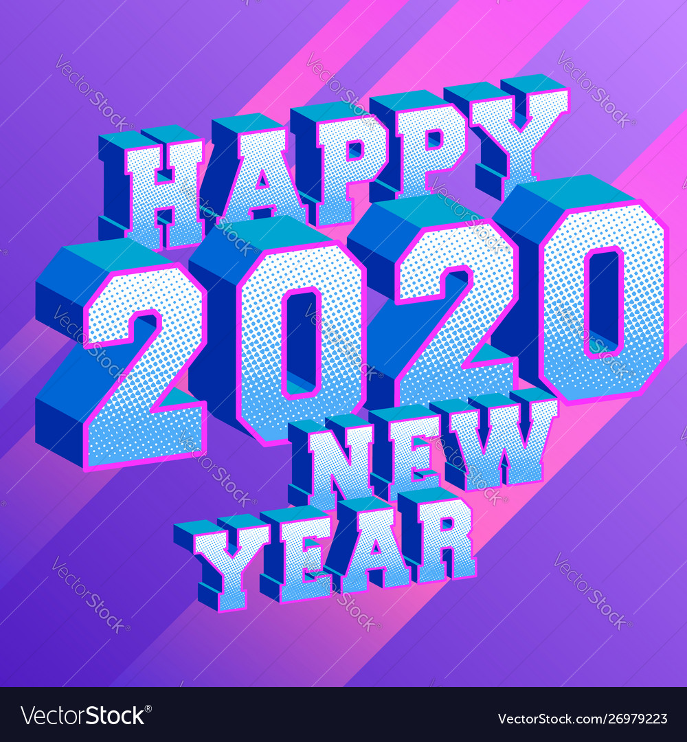 Happy new year 2020 gold 3d number isolated white