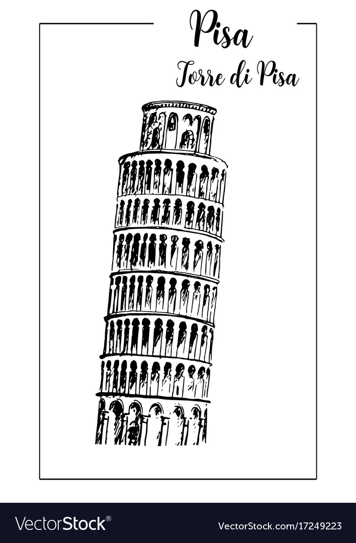 Leaning tower of pisa bell tower sketch vector image