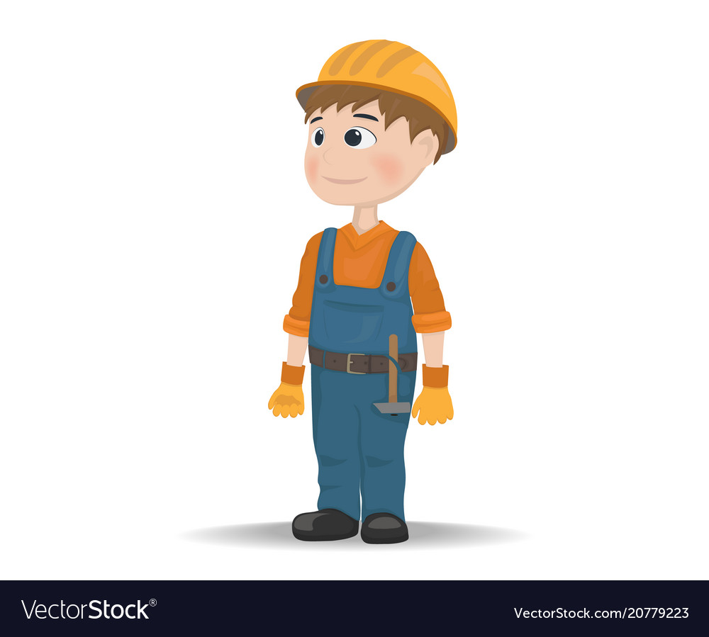 Man worker construction builder cartoon