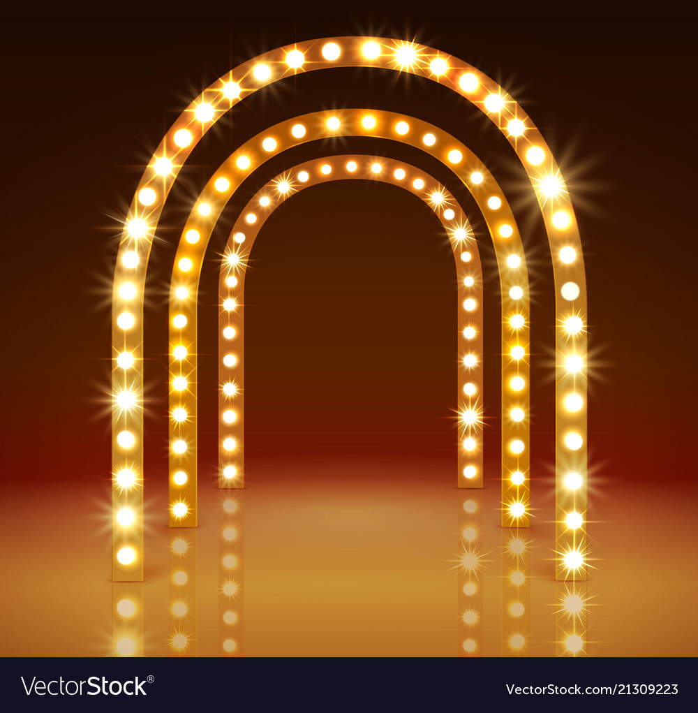 Stage with circle light bulbs