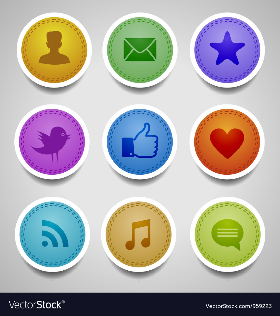 Stitched labels with social web icons vector image