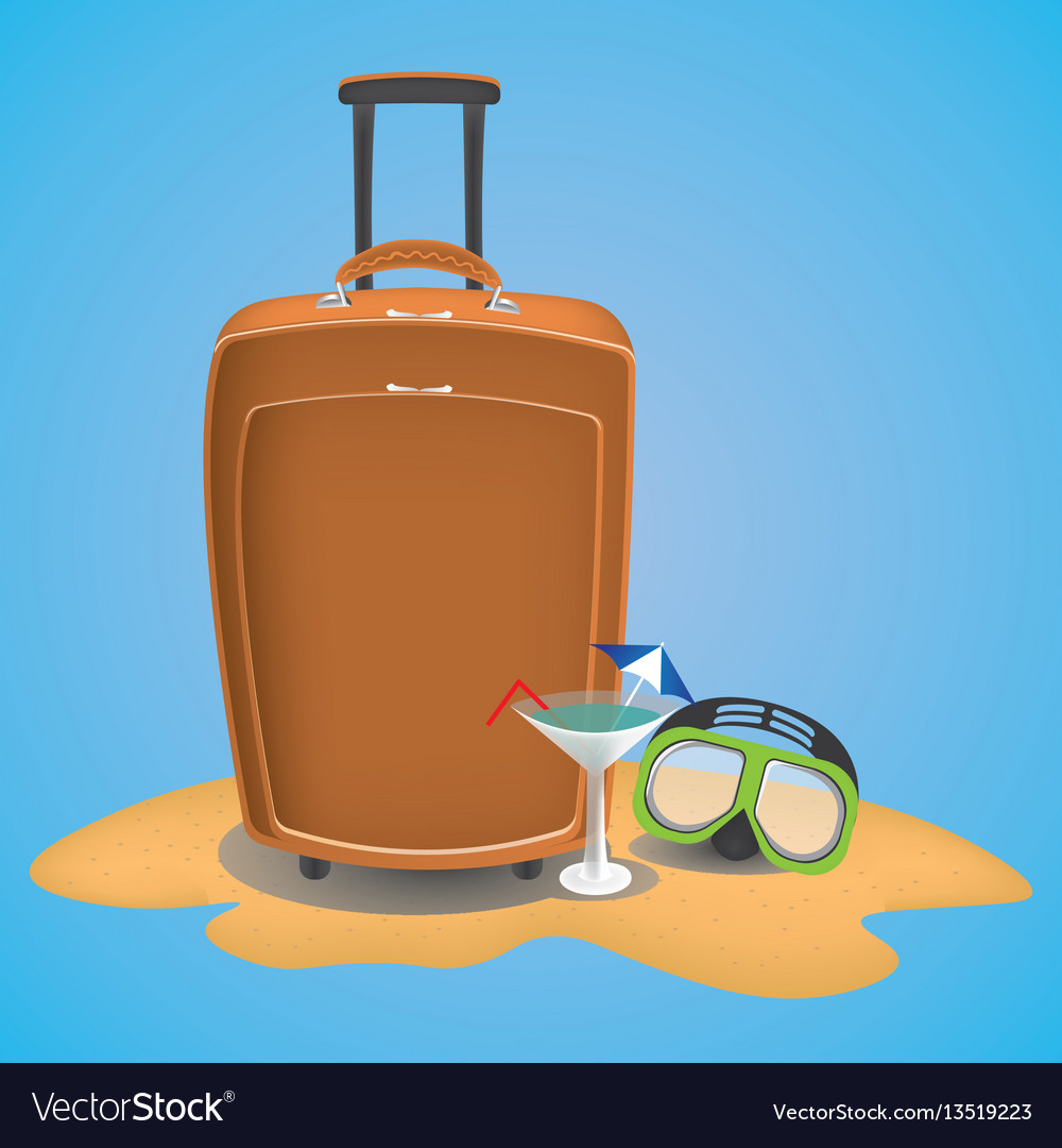 Travel suitcase on the beach with waterglasses