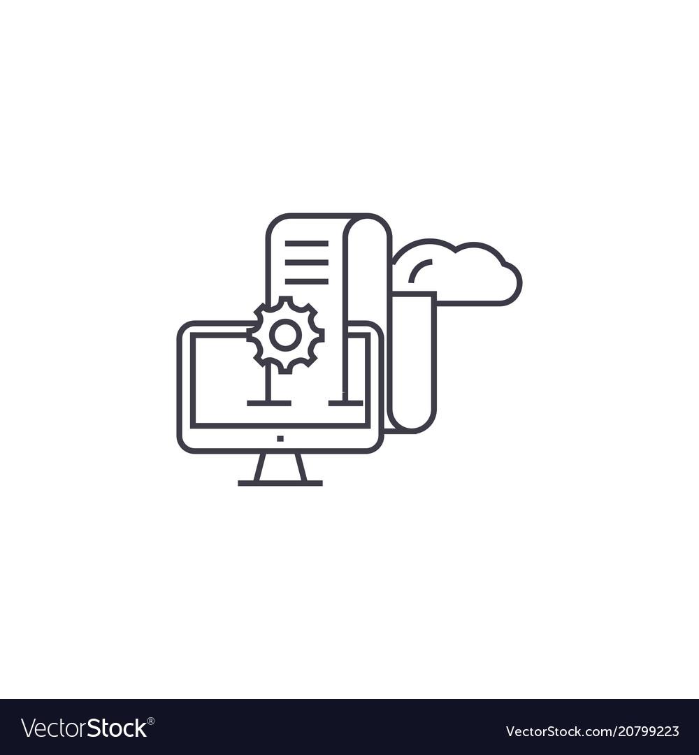 Web analytics line icon sign