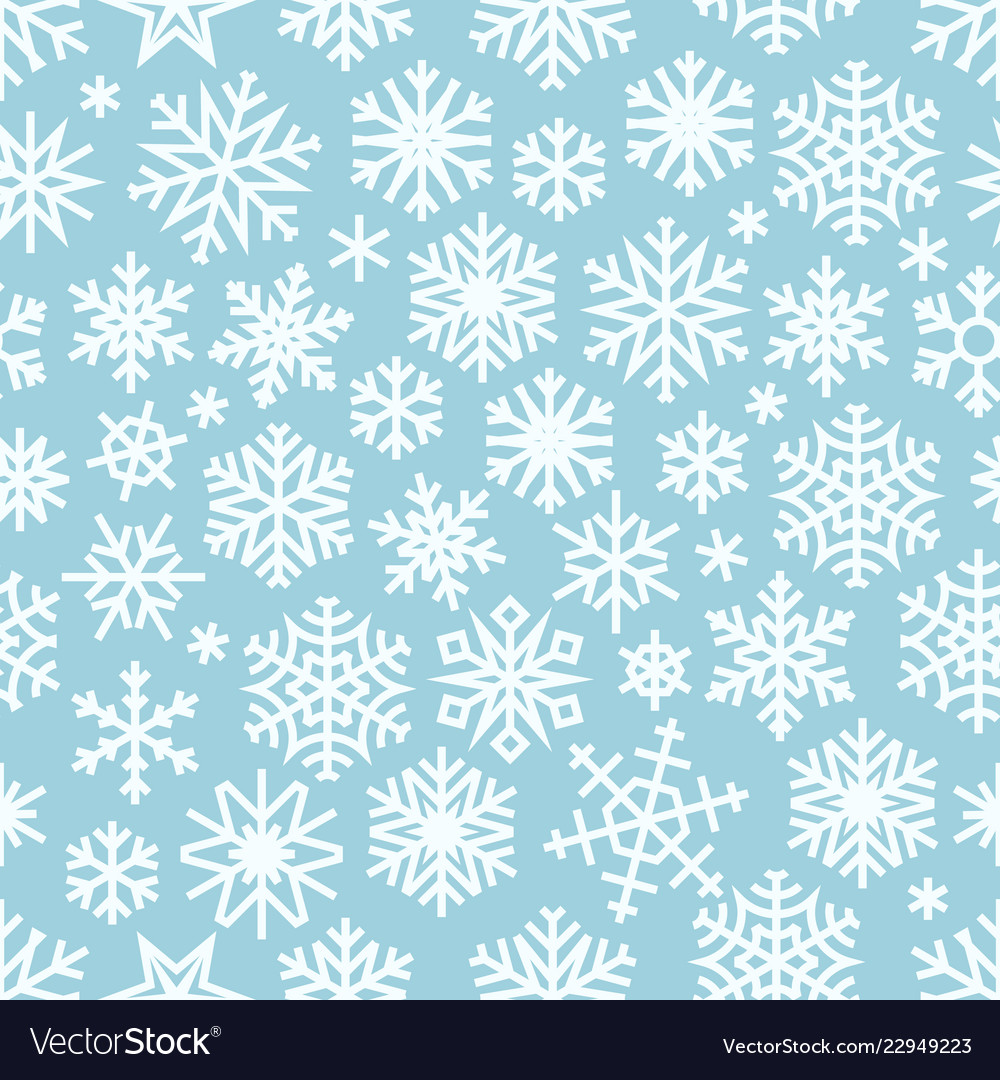 Winter seamless pattern with white snowflakes