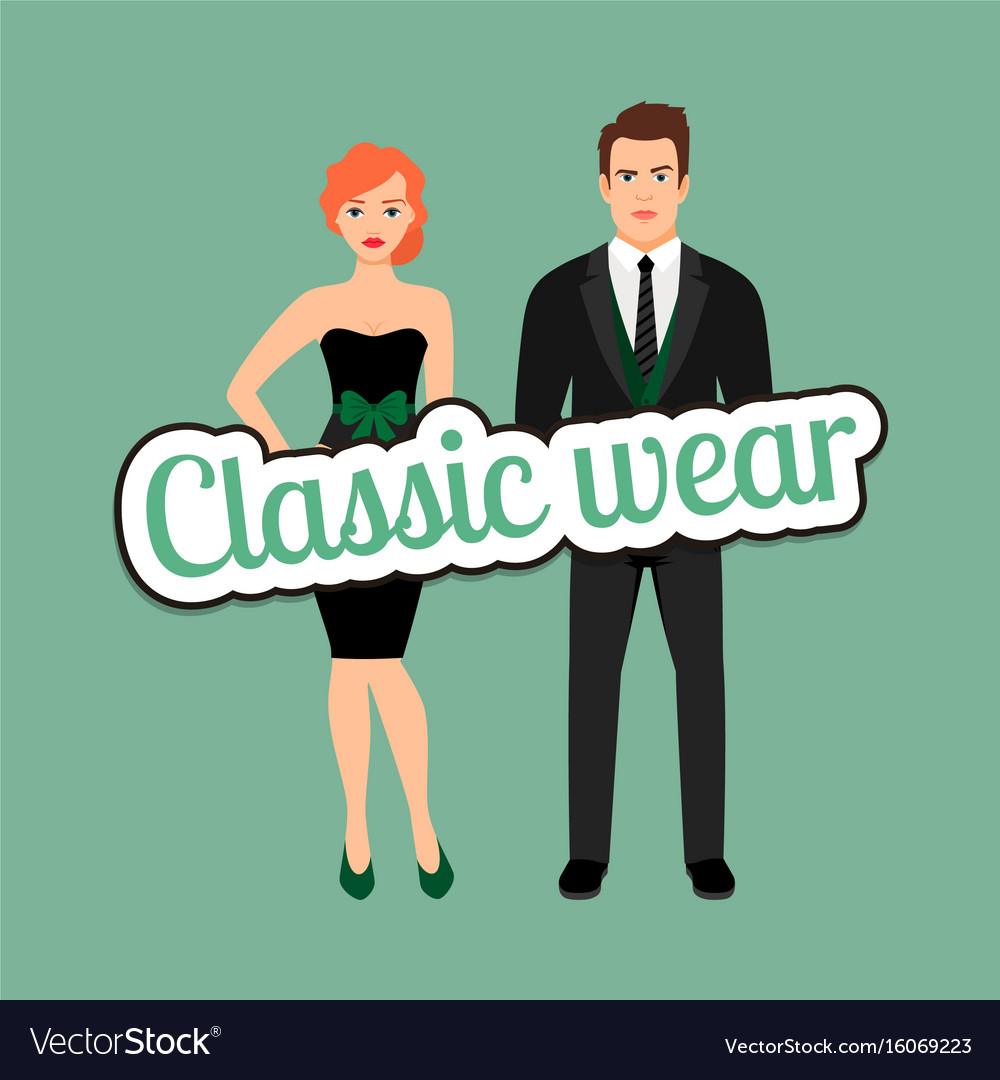 363c7868 Young couple in classic wear style Royalty Free Vector Image