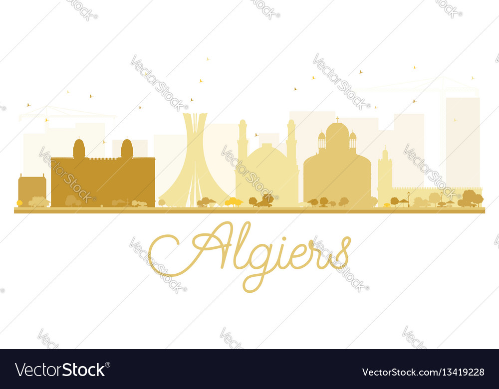 Algiers city skyline golden silhouette vector image