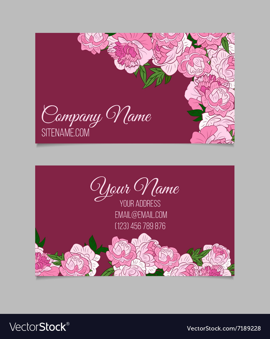 Beautiful floral business cards Royalty Free Vector Image