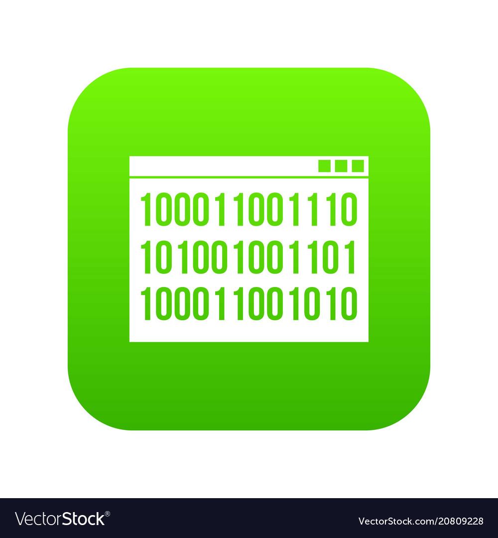 Binary code icon digital green