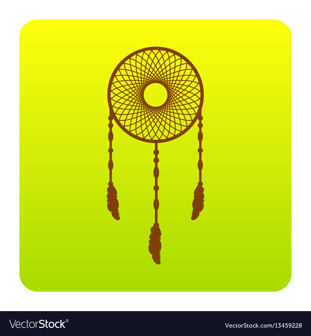Dream catcher sign brown icon at green