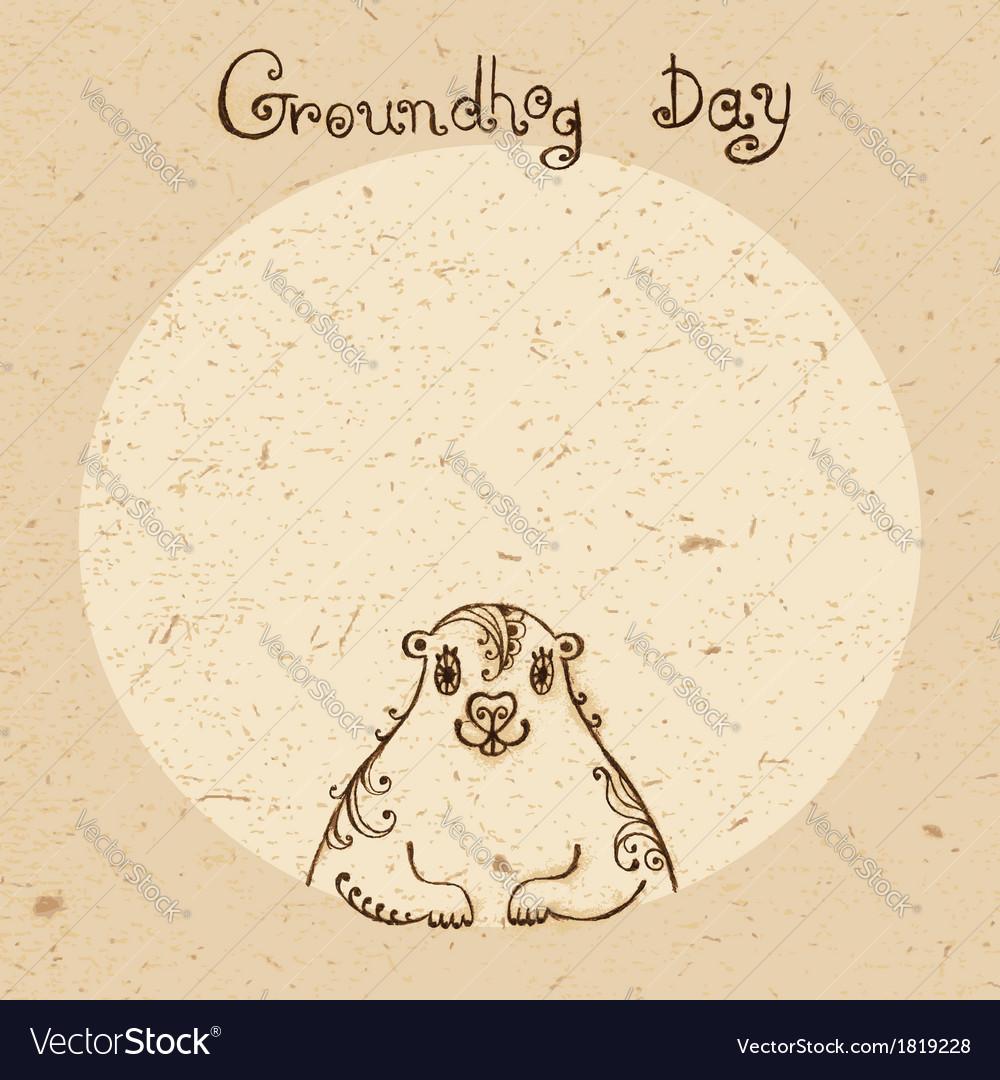 Groundhog Day Vintage hand drawn card vector image