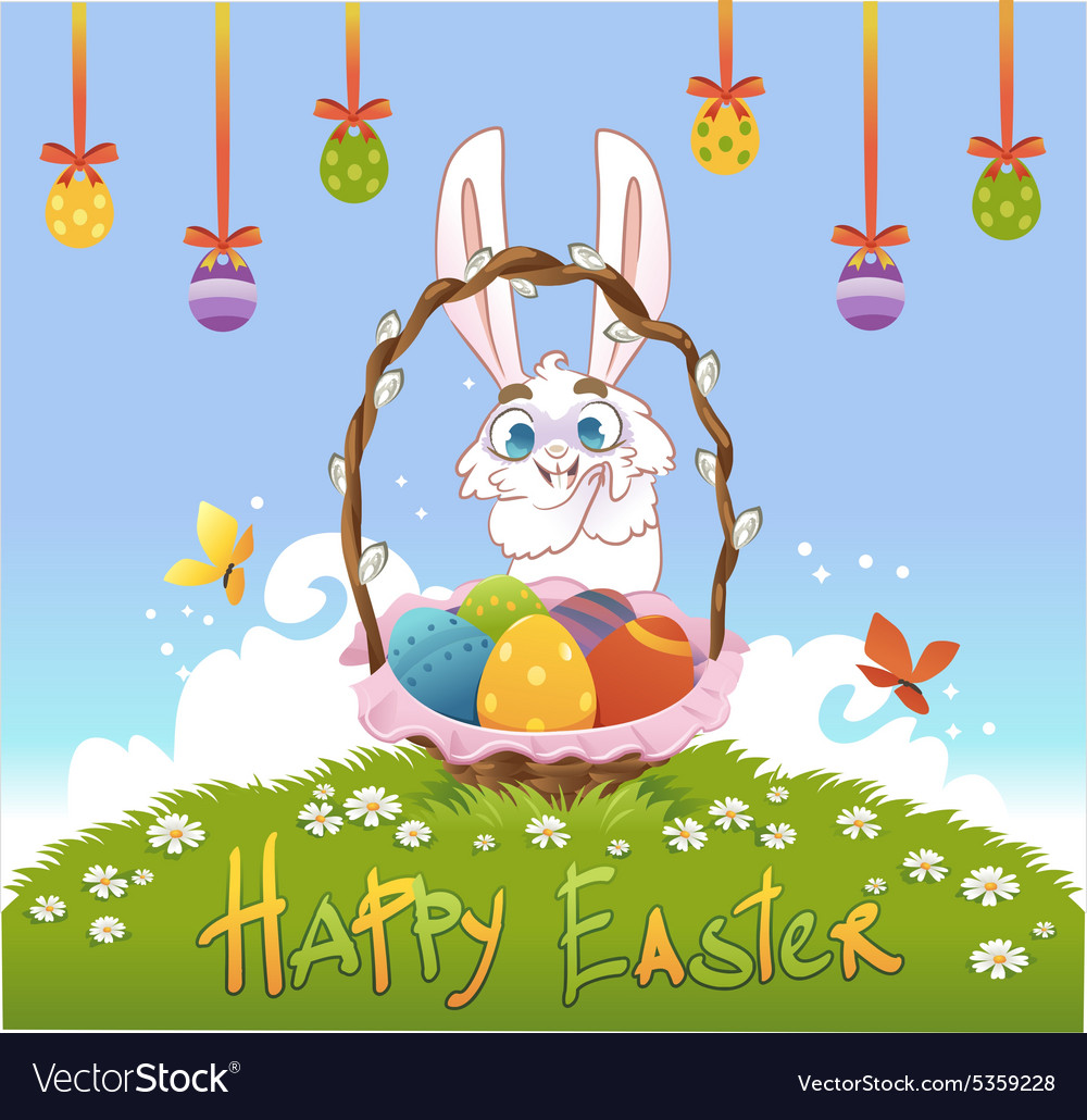 Happy easter with eggs and rabbit