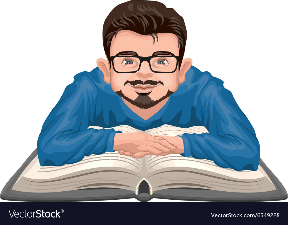 Man Reading Book Young Man In Glasses Placed His