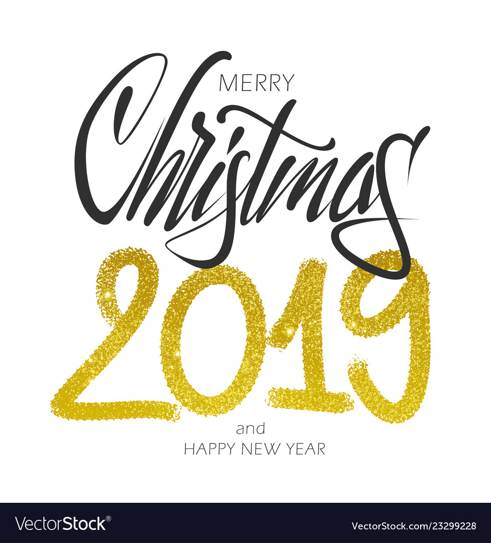 Merry christmas lettering gold design