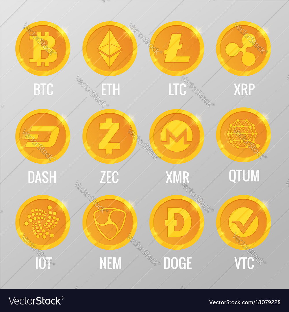 Set of cryptocurrency gold coins with