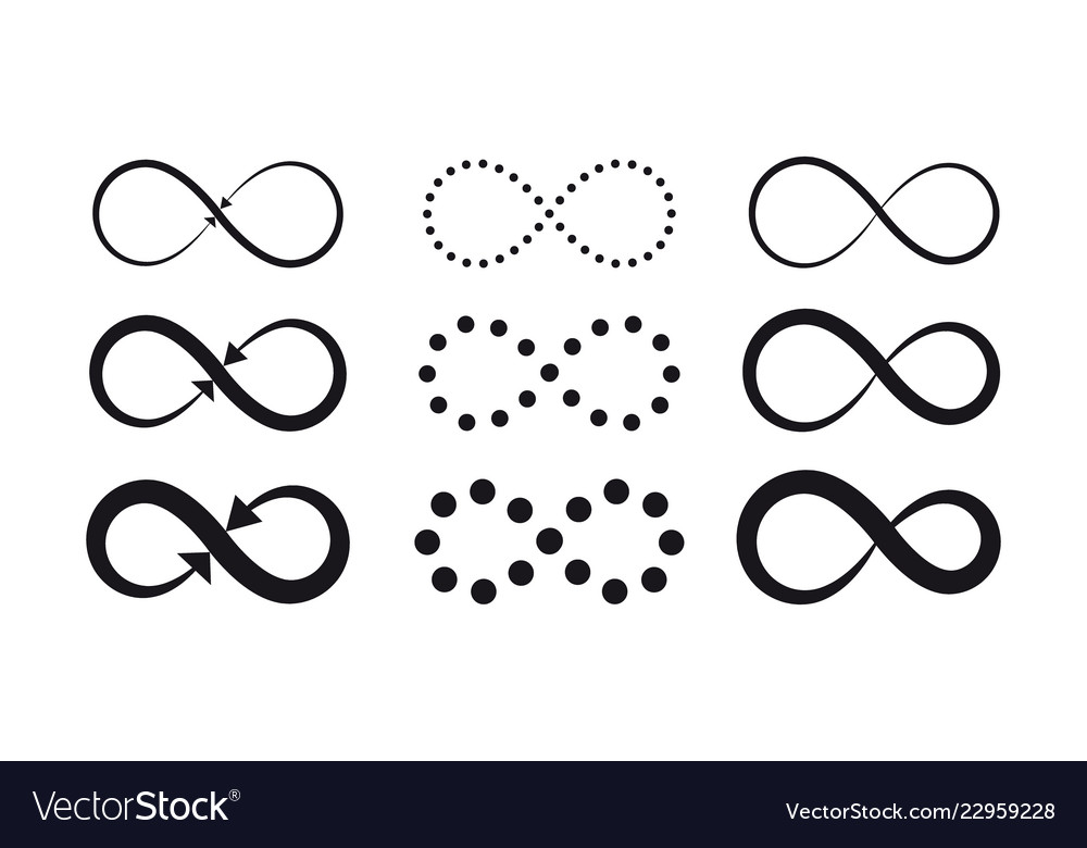 Set of infinity symbols eternal limitless