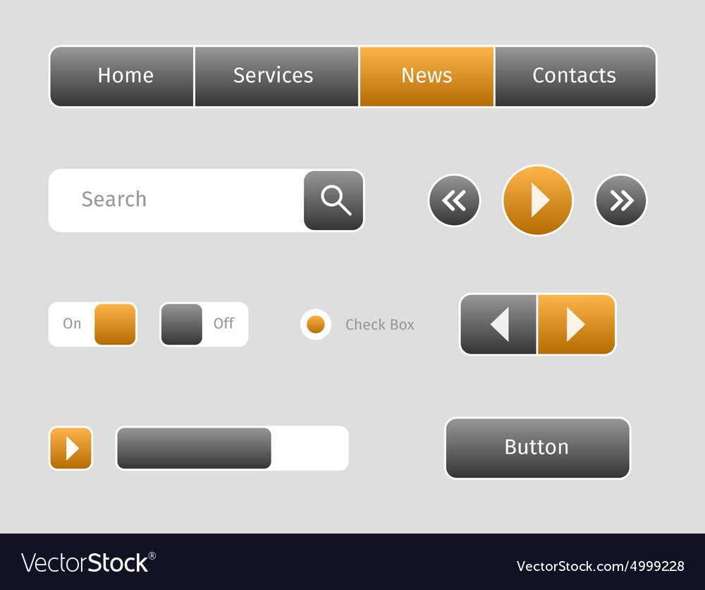 Set of web buttons with outlines