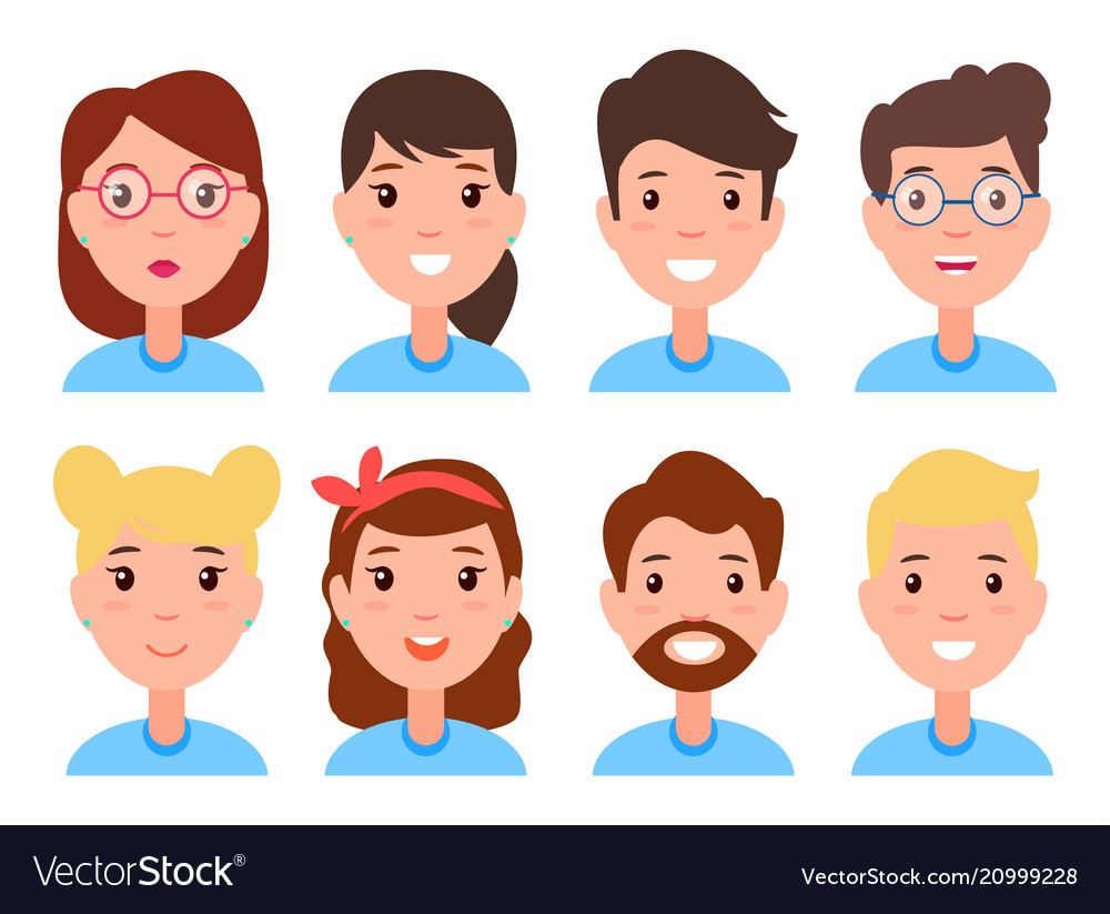 Set of women and men faces character constructor