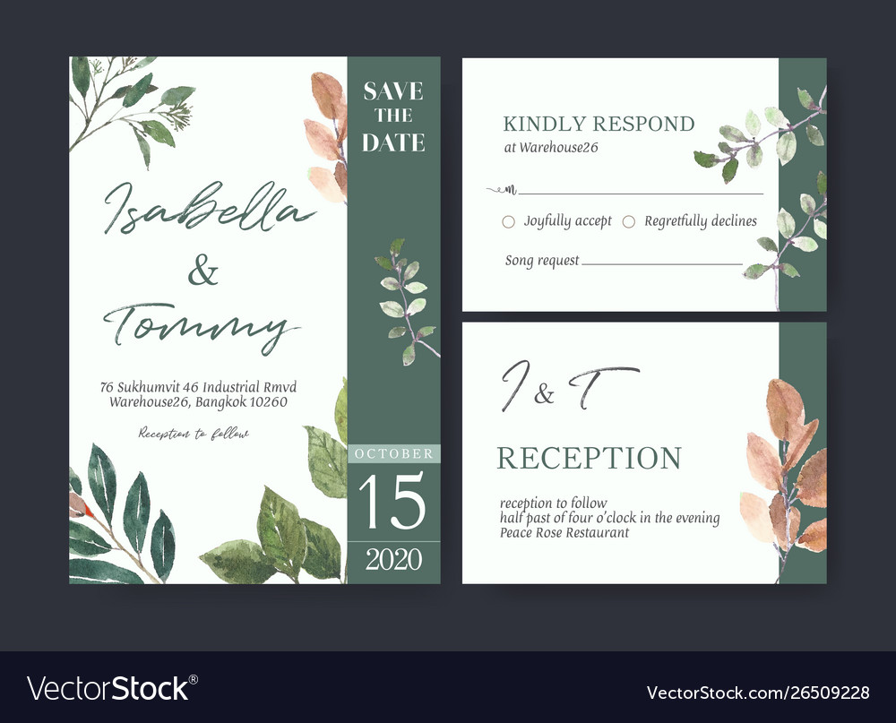 Wedding card flower watercolor thanks card
