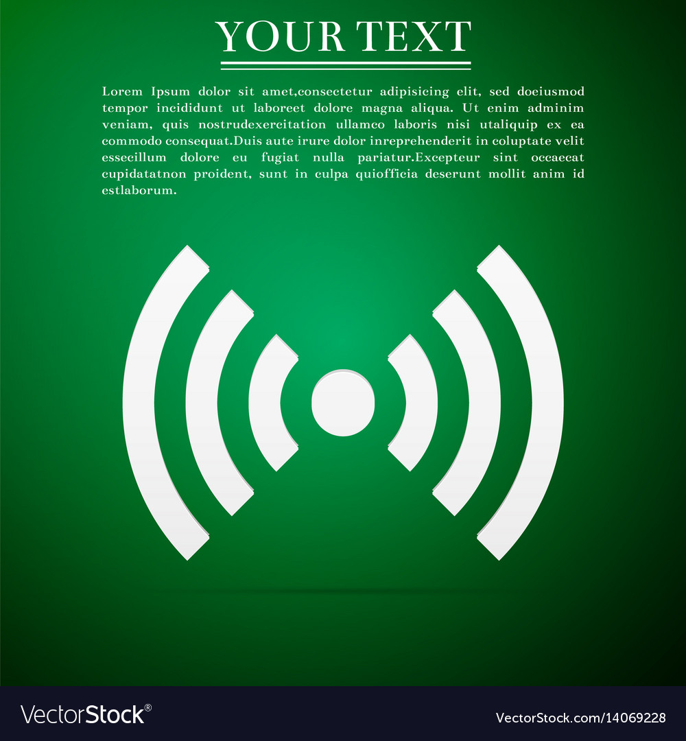 Wi-fi network symbol flat icon on green background