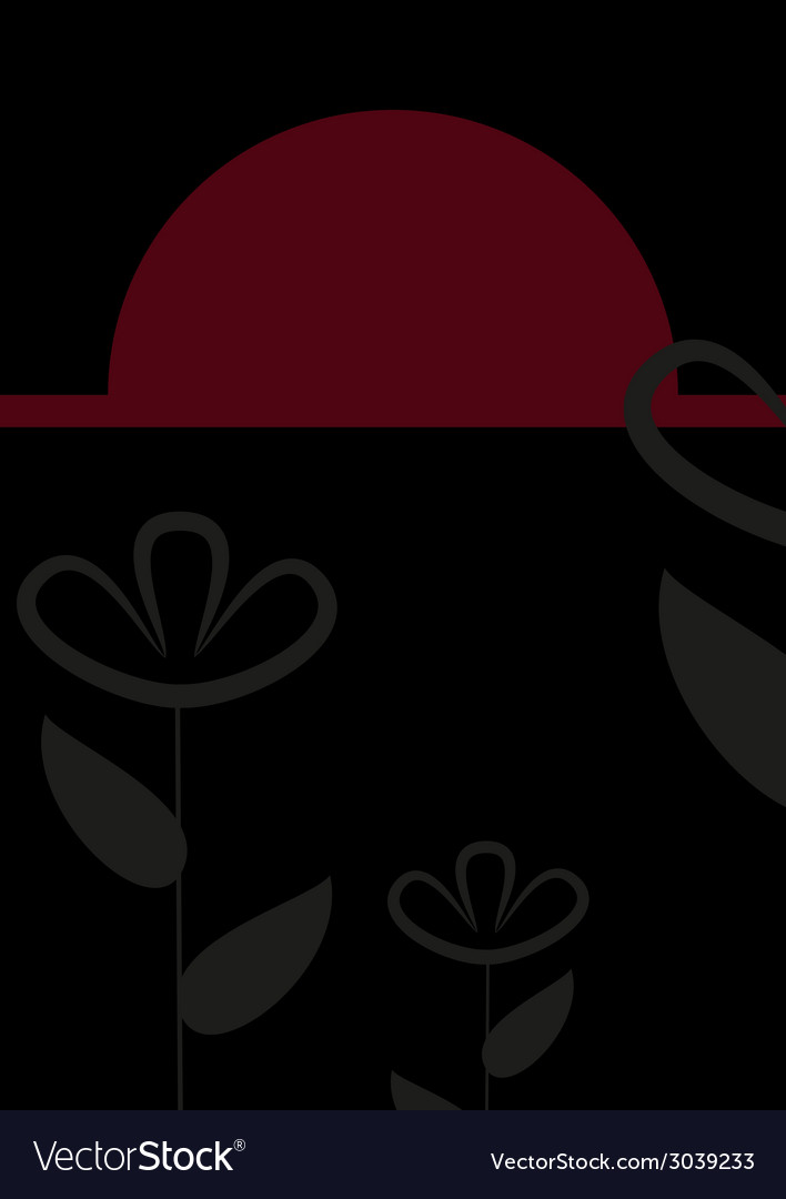 Abstract black and red floral card