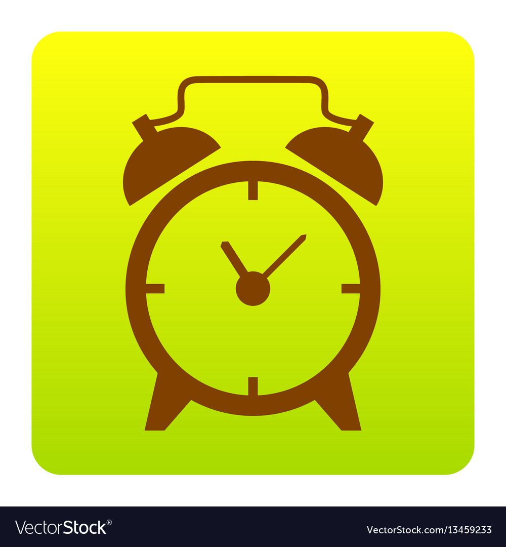 Alarm clock sign brown icon at green