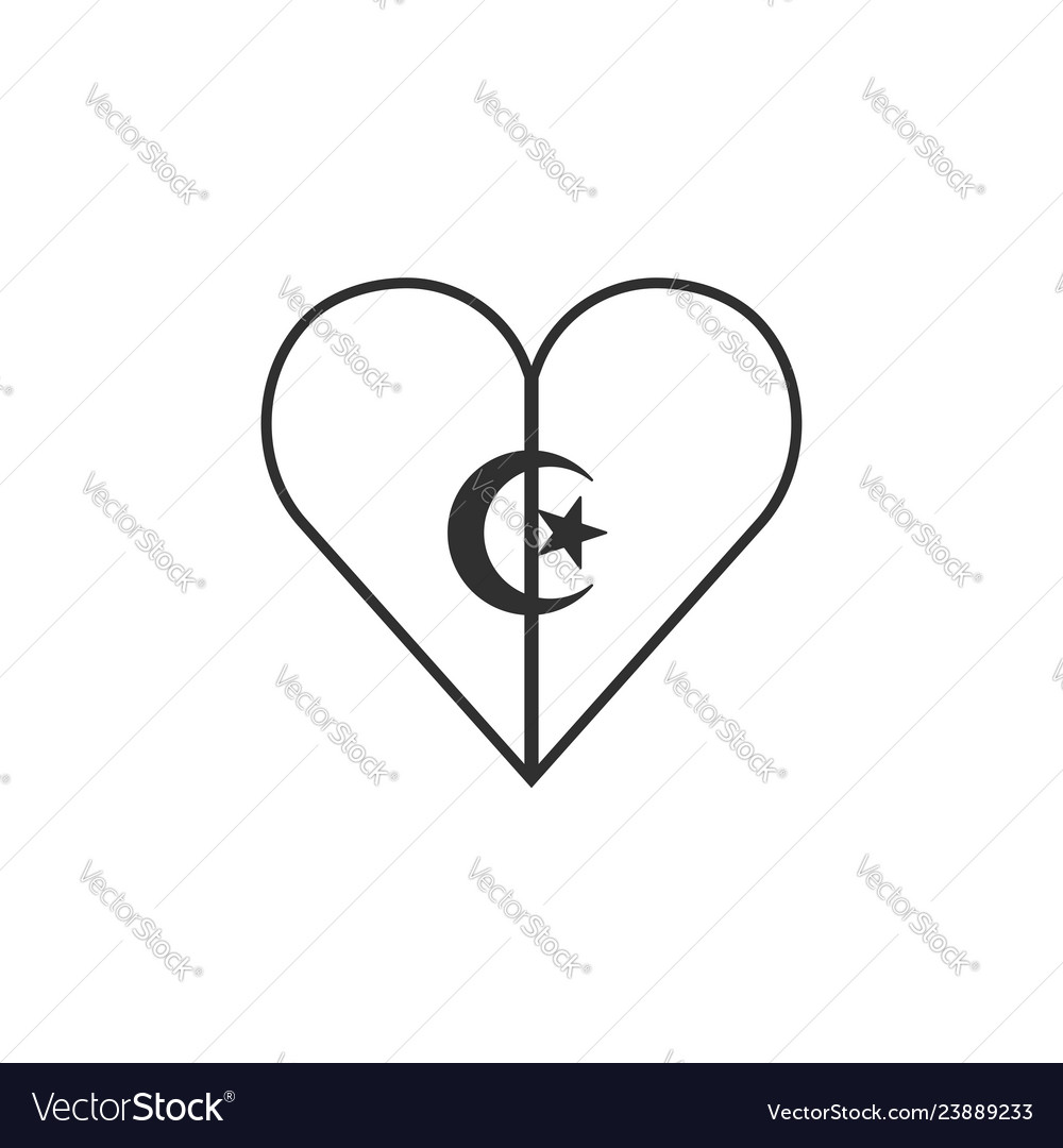 Algeria flag icon in a heart shape in black