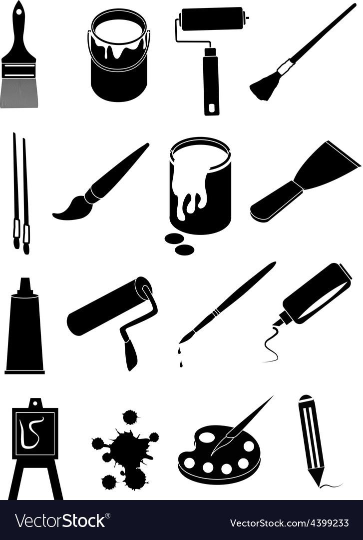 Art painting icons set