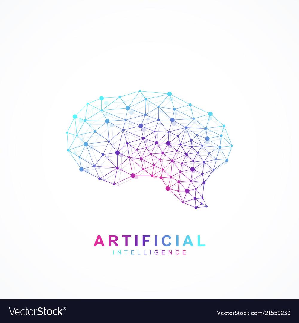 Artificial intelligence brain logo concept
