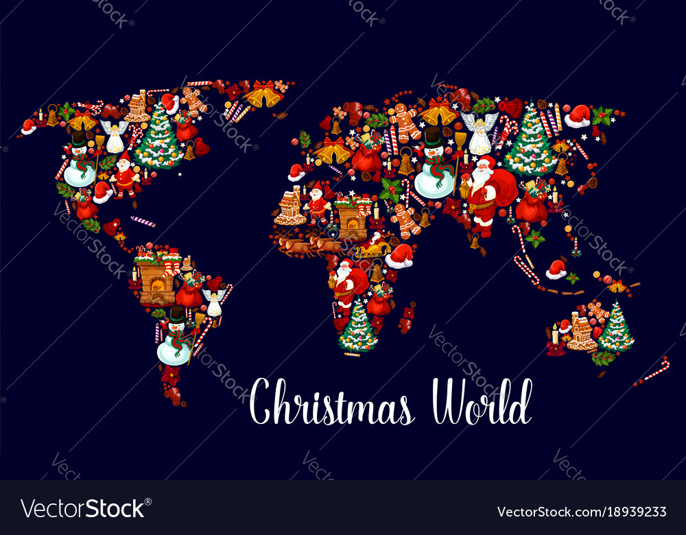 Christmas world map with new year holiday symbols on mint world map, britannia world map, palm world map, coins world map, lego world map, cheese world map, gourmet world map, spooky world map, city lights world map, bunny world map, plants world map, seasonal world map, capri world map, meat world map, bamboo world map, abstract world map, apple world map, water drop world map, new years world map, beans world map,