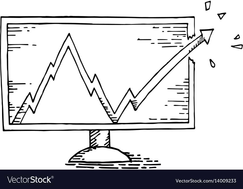 Computer hand drawing with stock market