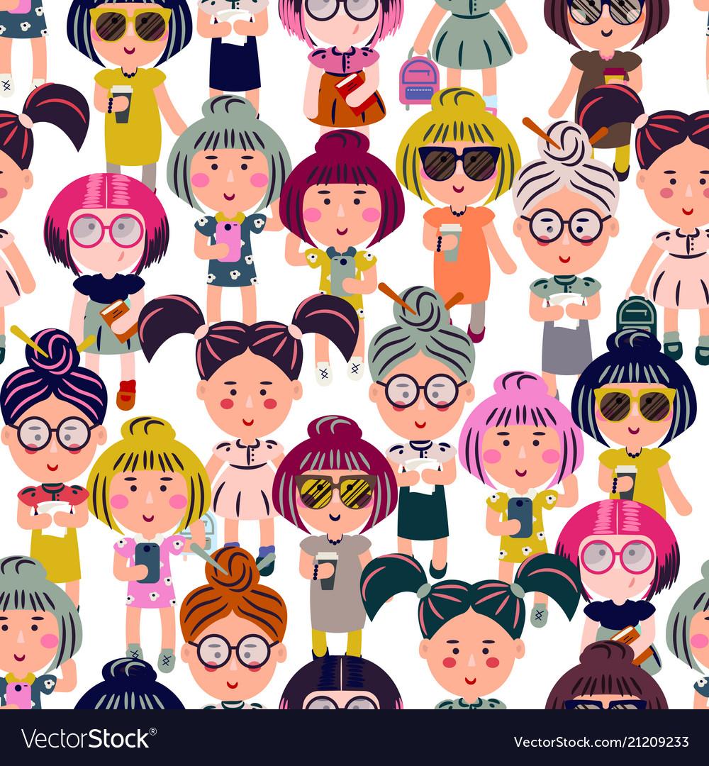 Cute fashion girls cartoon seamless pattern