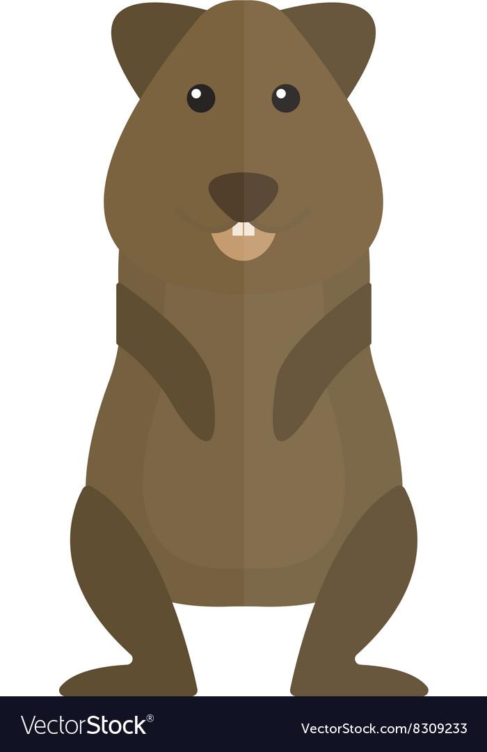 Cute standing brown hamster cartoon flat