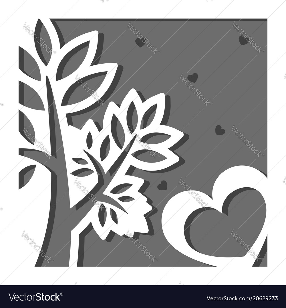 Greeting card in square with a tree and hearts
