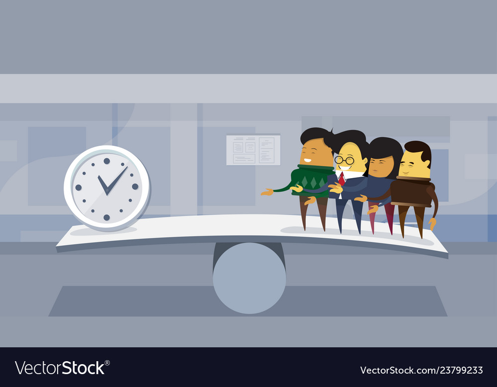 Group asian business people vs time on balance