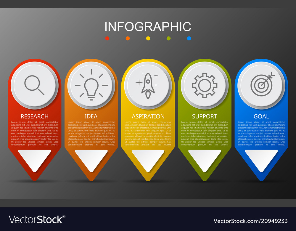 Infographic template with arrow on gray background