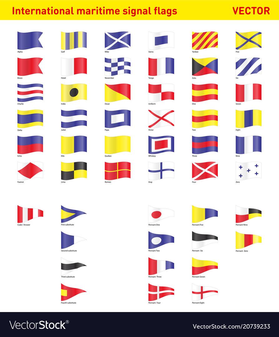 International Maritime Nautical Signal Flags Vector