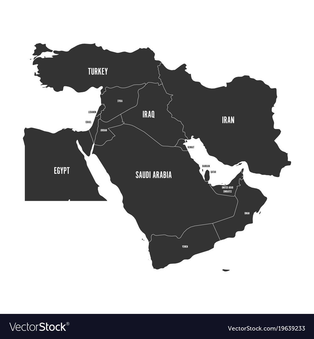 Political map of middle east or near east in