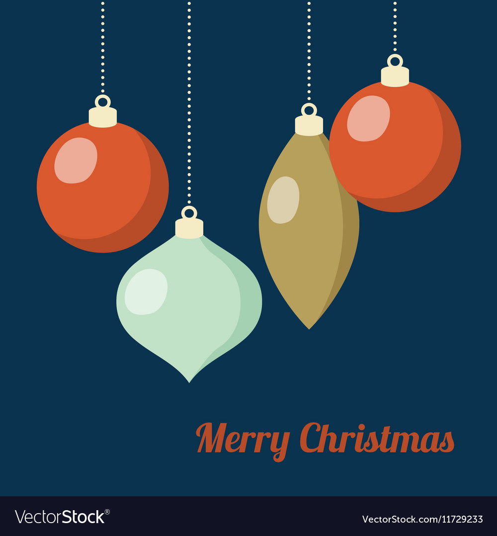 Retro Christmas greeting card invitation Hanging