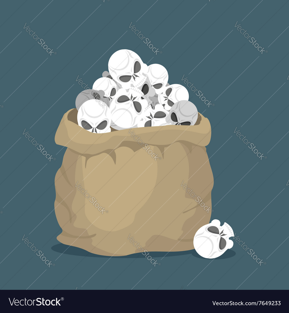 Sack of skulls Open bag with heads of skeletons